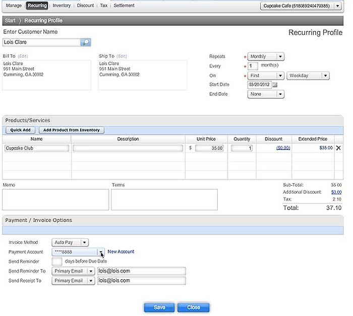 Recurring Invoice AutoPay